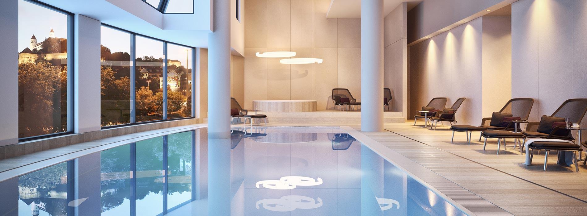 Indoor Pool des Park Inn by Radisson Danube Bratislava